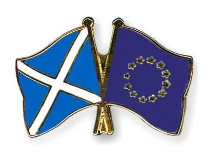 Special Offer Crossed Flag Pins Scotland-European-Union
