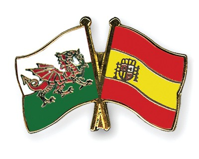 Special Offer Crossed Flag Pins Wales-Spain