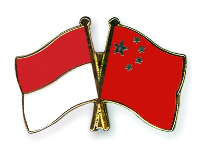 Crossed Flag Pins Indonesia-China