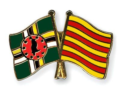 Crossed Flag Pins Dominica-Catalonia