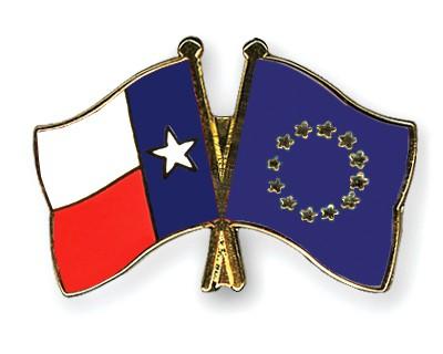 Crossed Flag Pins Texas-European-Union