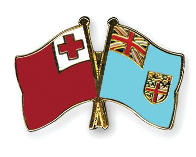 Crossed Flag Pins Tonga-Fiji