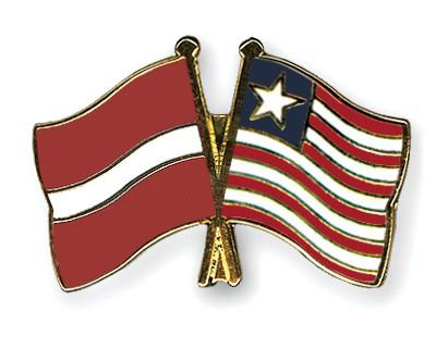 Crossed Flag Pins Latvia-Liberia