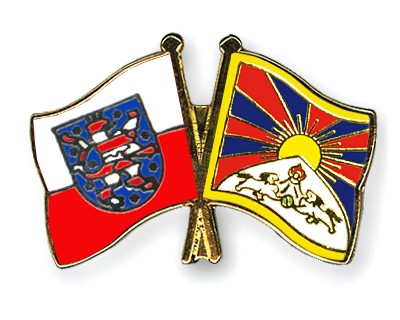 Crossed Flag Pins Thuringia-Tibet