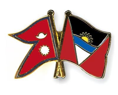 Crossed Flag Pins Nepal-Antigua-and-Barbuda