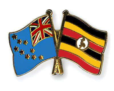 Crossed Flag Pins Tuvalu-Uganda