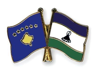 Crossed Flag Pins Kosovo-Lesotho
