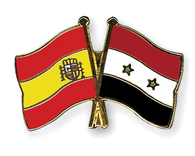 Crossed Flag Pins Spain-Syria