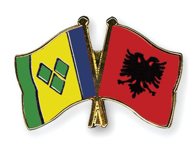 Crossed Flag Pins Saint-Vincent-and-the-Grenadines-Albania