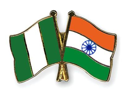 Crossed Flag Pins Nigeria-India