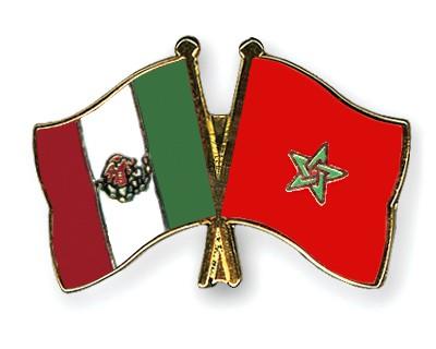 Crossed Flag Pins Mexico-Morocco