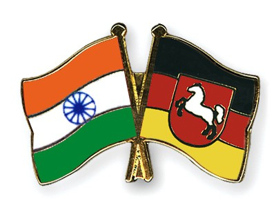 Special Offer Crossed Flag Pins India-Lower-Saxony