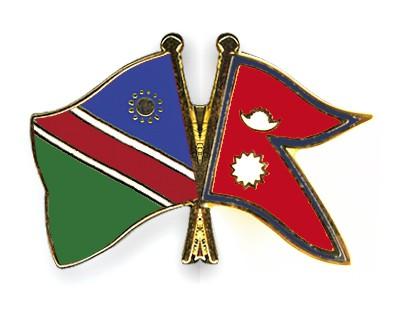 Crossed Flag Pins Namibia-Nepal