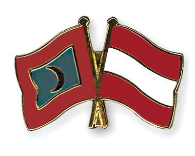 Crossed Flag Pins Maldives-Austria