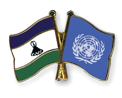 Crossed Flag Pins Lesotho-UNO
