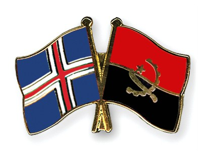 Crossed Flag Pins Iceland-Angola