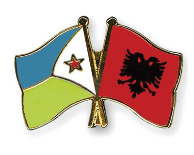 Crossed Flag Pins Djibouti-Albania
