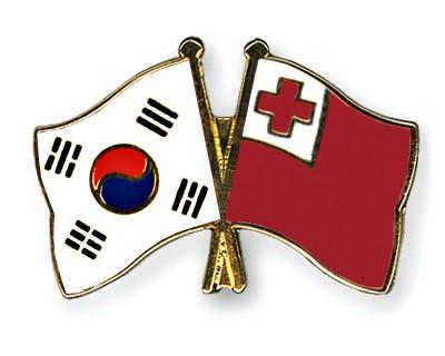 Crossed Flag Pins South-Korea-Tonga