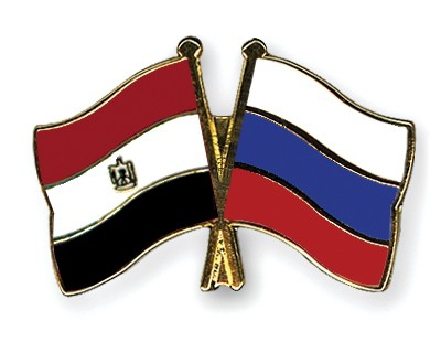 Crossed Flag Pins Egypt-Russia
