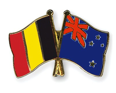 Special Offer Crossed Flag Pins Belgium-New-Zealand