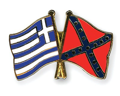 Crossed Flag Pins Greece-Confederate-battle
