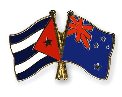 Crossed Flag Pins Cuba-New-Zealand
