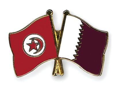 Crossed Flag Pins Tunisia-Qatar