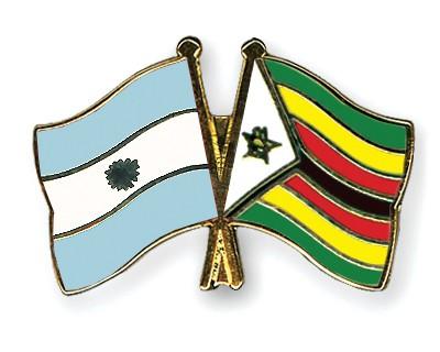 Crossed Flag Pins Argentina-Zimbabwe