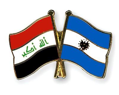 Crossed Flag Pins Iraq-El-Salvador
