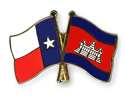 Special Offer Crossed Flag Pins Texas-Cambodia