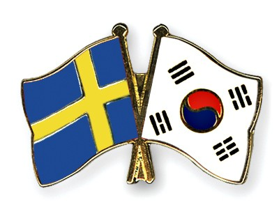 Special Offer Crossed Flag Pins Sweden-South-Korea