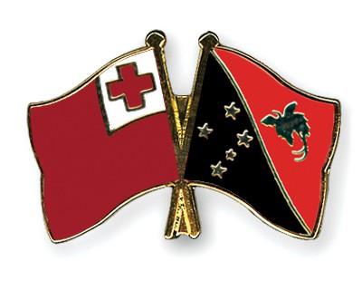 Crossed Flag Pins Tonga-Papua-New-Guinea