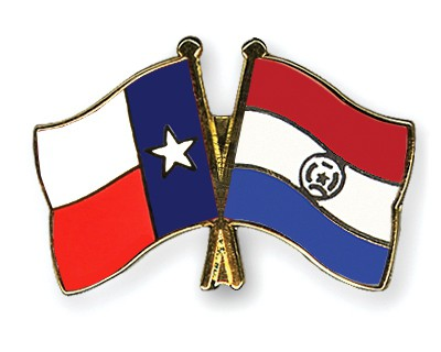Crossed Flag Pins Texas-Paraguay