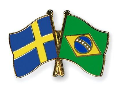 Special Offer Crossed Flag Pins Sweden-Brazil