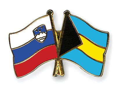 Crossed Flag Pins Slovenia-Bahamas