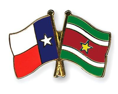 Crossed Flag Pins Texas-Suriname