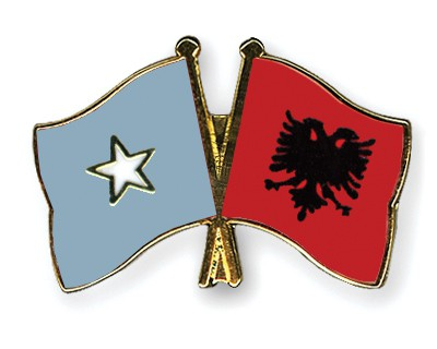 Crossed Flag Pins Somalia-Albania