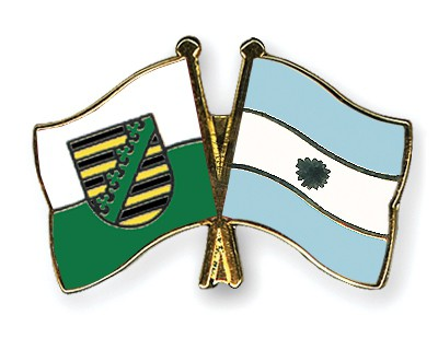 Crossed Flag Pins Saxony-Argentina
