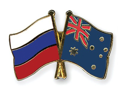 Crossed Flag Pins Russia-Australia