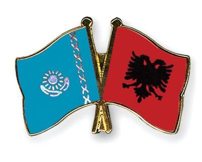 Crossed Flag Pins Kazakhstan-Albania