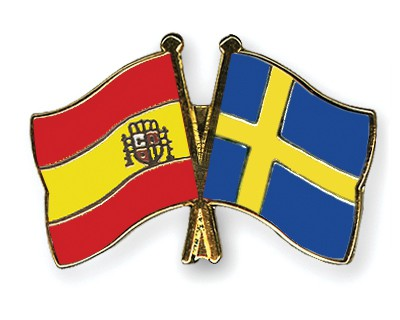 Crossed Flag Pins Spain-Sweden