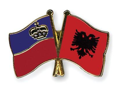 Crossed Flag Pins Liechtenstein-Albania