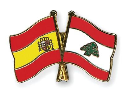 Crossed Flag Pins Spain-Lebanon