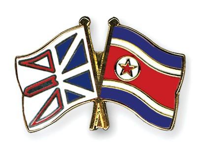 Crossed Flag Pins Newfoundland-and-Labrador-North-Korea