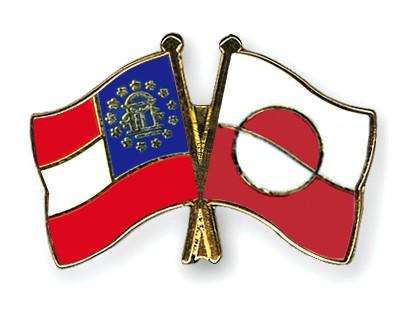 Crossed Flag Pins Georgia-Greenland