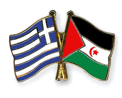 Crossed Flag Pins Greece-Western-Sahara