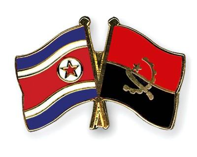 Crossed Flag Pins North-Korea-Angola