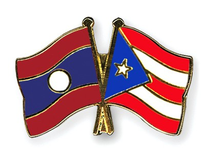 Crossed Flag Pins Laos-Puerto-Rico