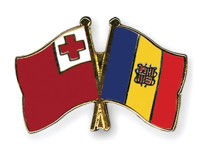 Crossed Flag Pins Tonga-Andorra