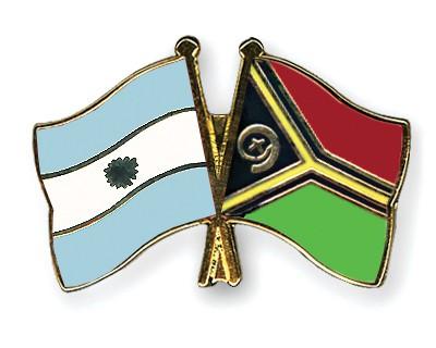 Crossed Flag Pins Argentina-Vanuatu